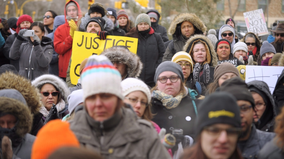 Protesters participate in a rally in Regina following the not guilty verdict in the Gerald Stanley trial on Saturday, Feb. 10, 2018. (THE CANADIAN PRESS/Mark Taylor)