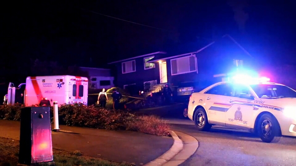 Emergency crews respond to a violent home invasion in Coquitlam on Feb. 9, 2018.