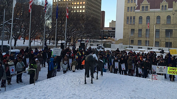 A large gathering of people showed up at the steps of Calgary City Hall on Sunday to support the family of Colten Boushie.