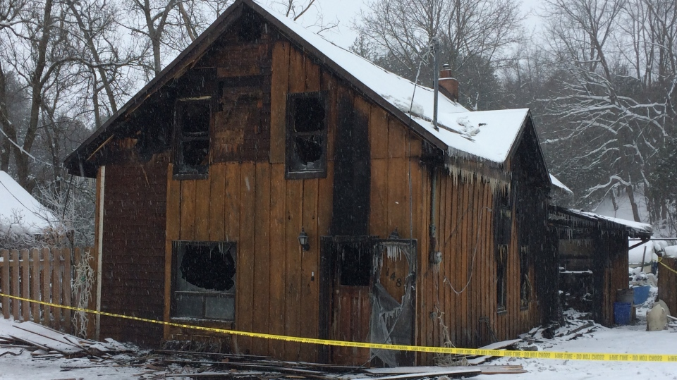 A family home near Shelburne, Ont. was destroyed by fire on Feb 11, 2018. (CTV News Barrie Chris Garry)
