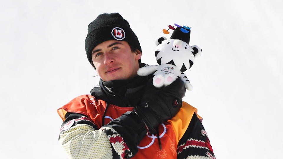 Mark McMorris of Canada celebrates his bronze medal following the men's snowboard slopestyle final at the Phoenix Snow Park at the 2018 Winter Olympic Games in Pyeongchang, South Korea, Sunday, Feb. 11, 2018. THE CANADIAN PRESS/Jonathan Hayward