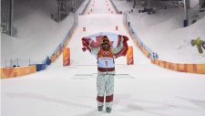Mikael Kingsbury after winning the men's moguls