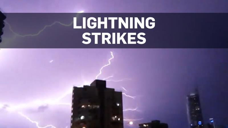 Lightning strikes Australian tower