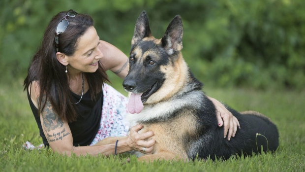 Fanucci the German shepherd with Sue Condreras