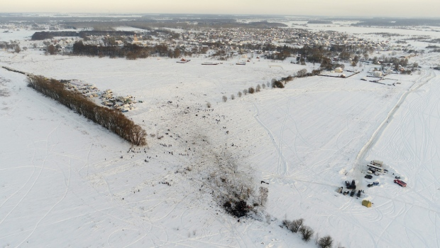 Site of a AN-148 plane crash in Stepanovskoye