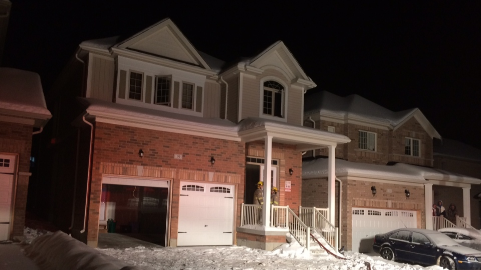 A fire that broke out in a home near Alliston, Ont. on Feb 12, 2018 is considered suspicious. (CTV Barrie Dave Erskine)