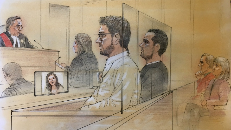 Dellen Millard, Mark Smich and the parents of Laura Babcock (seated on the far right) are seen in this court sketch.