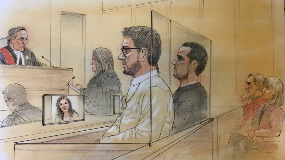 Dellen Millard and Mark Smich appear in court on day one of their sentencing hearing for the murder of Laura Babcock. Babcock's parents sit behind them. (Sketch by John Mantha)
