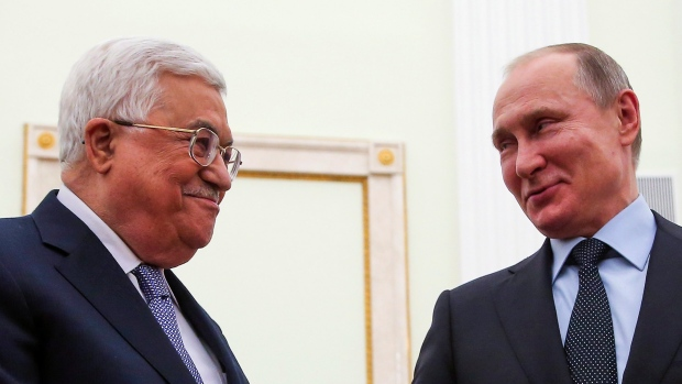 Vladimir Putin and Mahmoud Abbas