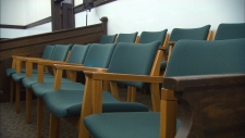 Juror's seats in Battleford Court of Queen's Bench