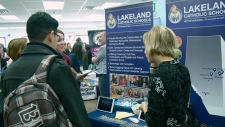 University of Ottawa teaching students at job fair