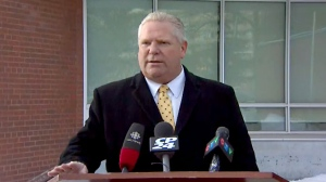 Doug Ford speaks to reporters at a news conference on Feb. 12, 2018.