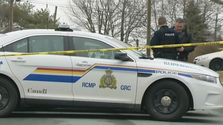 Police respond to reports of shots fired at homes in Lower Sackville, N.S., on Monday, Feb. 13, 2018.