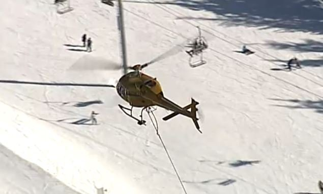 A helicopter assists in one of several rescues on Vancouver's North Shore mountains on Feb. 12, 2018.
