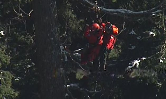 Volunteers perform a longline rescue on Feb. 12, 2018.