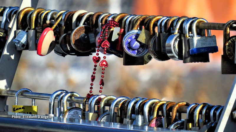Love locks on the Corktown Bridge over the Rideau Canal in Ottawa, Ont. (Elizabeth D'Angelo/CTV Viewer)