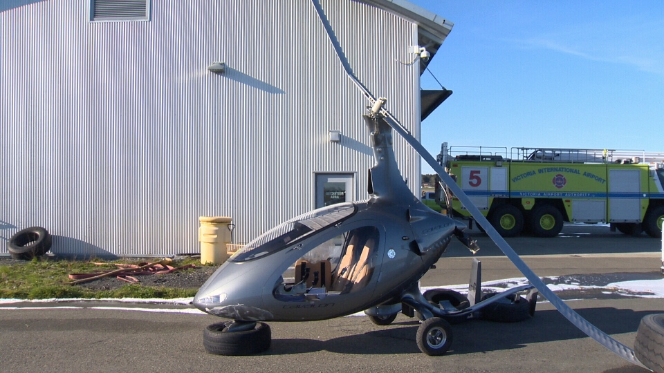 A helicopter-like aircraft called an autogyro experienced a hard landing at the Victoria airport, injuring the lone occupant of the aircraft. Feb. 12, 2018. (CTV Vancouver Island)
