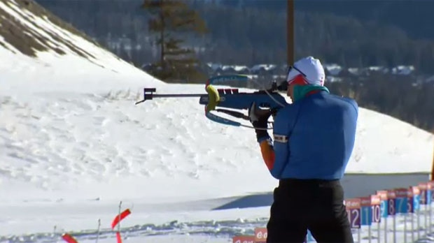 A biathlete trains at the Nordic Centre in Canmore on February 12, 2018