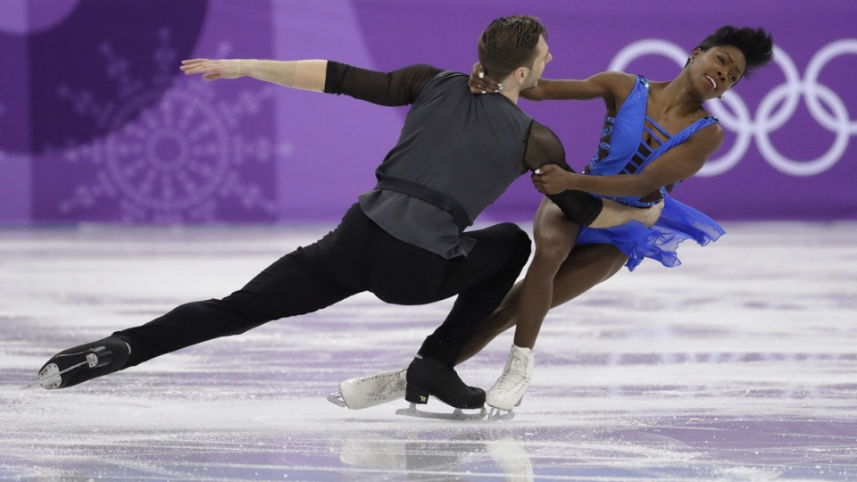 Vanessa James and Morgan Cipres of France perform in the pair skating short program team event at the 2018 Winter Olympics in Gangneung, South Korea, on Feb. 9, 2018. (Bernat Armangue / AP)