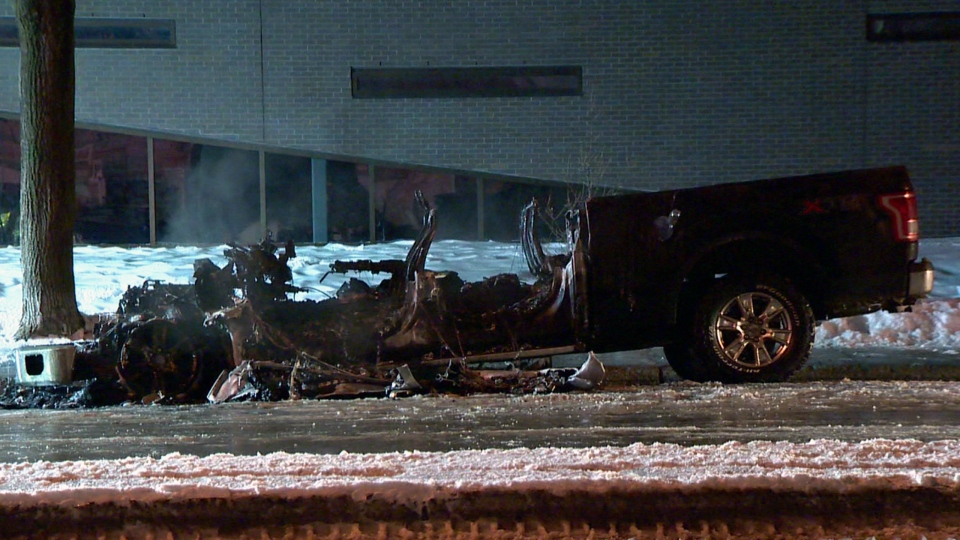 This pickup truck was parked on Charles Gill St. when it was destroyed by an arsonist on Feb. 13, 2018 (CTV Montreal/Cosmo Santamaria)