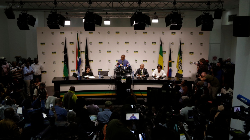 Secretary General of the African National Congress, (ANC) Ace Magashule, makes a statement at a briefing at the ANC headquarters in downtown Johannesburg, Tuesday, Feb. 13, 2018. Magashule said the scandal-tainted President Jacob Zuma must leave office. (AP Photo/Themba Hadebe)