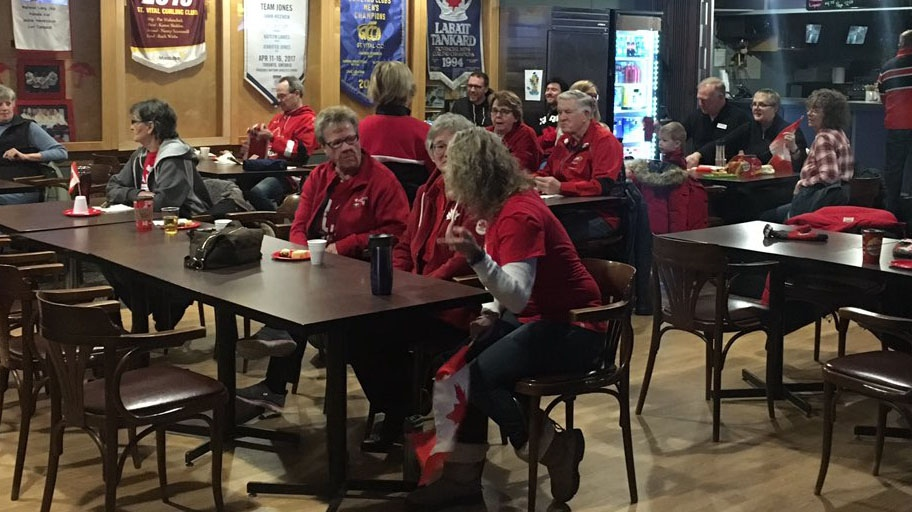 Friends, family and fans dressed in red and white gathered at the St. Vital Curling Club to cheer on Kaitlyn Lawes. (Ryan Harding)