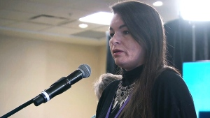 Pam Fillier speaks at a hearing of the National Inquiry into Missing and Murdered Indigenous Women and Girls in Moncton, N.B., Tuesday, Feb. 13, 2018.