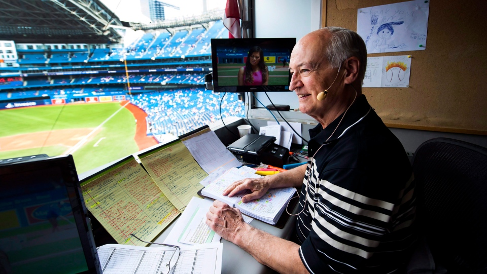 Toronto Blue Jays broadcaster Jerry Howarth overlooks the field from his broadcast booth before the Toronto Blue Jays play against the Chicago White Sox during first inning AL baseball action in Toronto on Saturday, June 17, 2017. THE CANADIAN PRESS/Nathan Denette