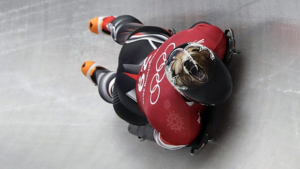 Dave Greszczyszyn during a training run for the men's skeleton at the 2018 Winter Olympics, on Feb. 13, 2018. (Wong Maye-E / AP)