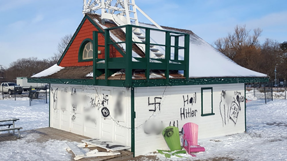 A photo of Leuty Lifeguard Station in Toronto's Beach neighbourhood where vandals have spray painted a number of racist words and symbols.