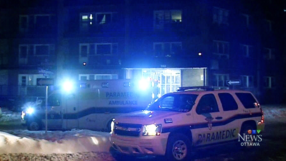 Emergency services respond to a call on Mayfield Street in Vanier where two men were suffering from stab wounds in the early morning hours of Tuesday, Feb. 13, 2018.