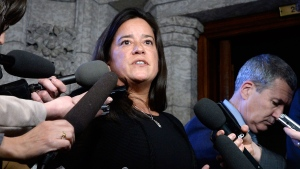 Minister of Justice and Attorney General of Canada Jody Wilson-Raybould speaks to reporters in the Foyer of the House of Commons on Parliament Hill in Ottawa on Monday, Feb. 12, 2018. THE CANADIAN PRESS/Justin Tang