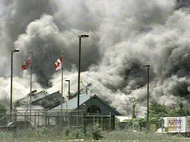 Lakeview Generating Station implodes in a massive display in Mississauga, Ont. on Thursday, June 27, 2007.