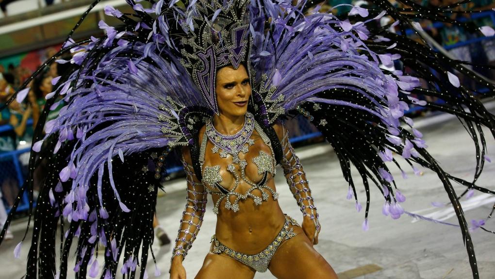 A performer from Salgueiro samba school in Brazil