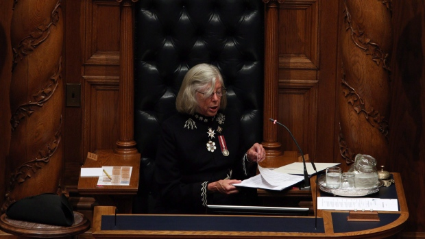 Lt.-Gov. Judith Guichon delivers the speech from the throne in the legislative assembly in Victoria, B.C., on Friday, September 8, 2017. (Chad Hipolito/THE CANADIAN PRESS)