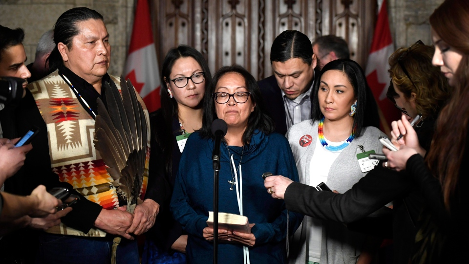 Debbie Baptiste, mother of Colten Boushie, pauses as she speaks to reporters in the Foyer of the House of Commons after a day of meetings on Parliament Hill, in Ottawa on Tuesday, Feb. 13, 2018. THE CANADIAN PRESS/Justin Tang