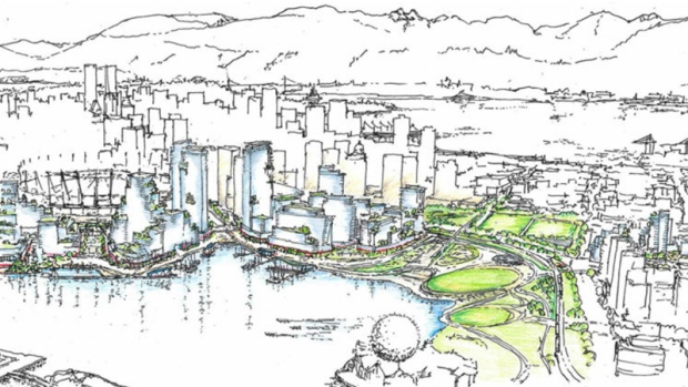 Plans for Northeast False Creek are seen in a perspective sketch included in a City of Vancouver report.