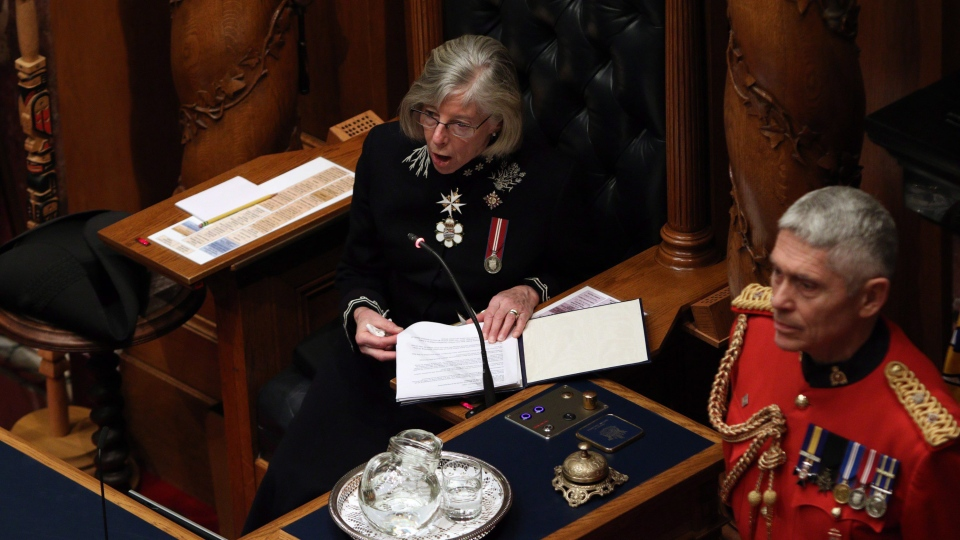 Lt.-Gov. Judith Guichon delivers the speech from the throne from the Legislative Assembly at Legislature in Victoria, B.C., on Tuesday, February 13, 2018. THE CANADIAN PRESS/Chad Hipolito