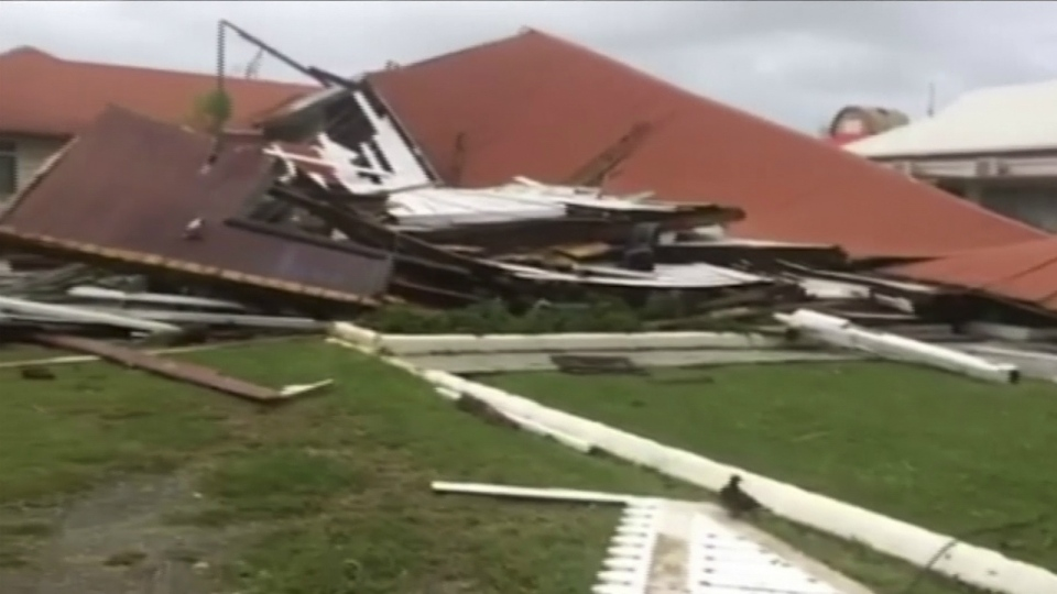 This image made from a video, shows parliament house damaged by Cyclone Gita in Nukua'alofa, Tonga on Tuesday, Feb. 13, 2018. (TVNZ)