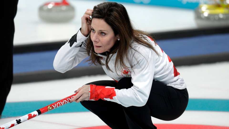 Canadian curler Cheryl Bernard seen during training sessions for the women's curling matches at the 2018 Winter Olympics in Gangneung, South Korea, Monday, Feb. 12, 2018. (AP Photo/Aaron Favila)