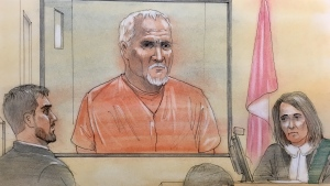 Bruce McArthur (centre) makes a court appearance in Toronto, Wednesday, Feb. 14, 2018.