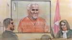 Accused serial killer Bruce McArthur appeared briefly in court via video link on Feb. 14, 2018. (Sketch by John Mantha)