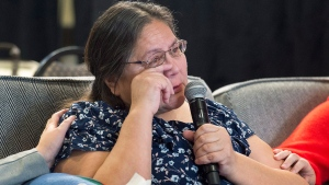 Barbara Bernard from the Abegweit First Nation in Prince Edward Island, testifies at the National Inquiry into Missing and Murdered Indigenous Women and Girls in Moncton, N.B. on Wednesday, Feb. 14, 2018. Bernard told the inquiry about the life and death of her mother, Mary Francis Paul. THE CANADIAN PRESS/Andrew Vaughan