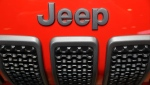FILE- In this Feb. 8, 2018, file photo, a Jeep Cherokee sits on display at the Chicago Auto Show in Chicago. (AP Photo/Charles Rex Arbogast, File)