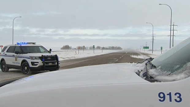 RCMP closed both directions of Highway 1 east of Calgary for several hours on Wednesday because of poor weather conditions.