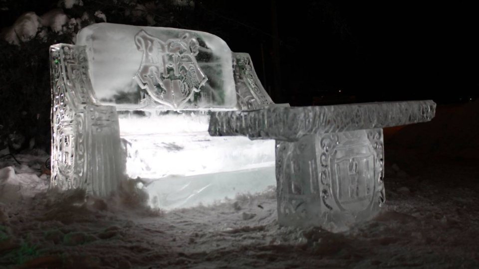 An ice couch inspired by the Harry Potter series is one of several sculptures in an Edmonton front yard that pay homage to the Hogwarts School of Witchcraft and Wizardry. (Source: Kelly Davies)