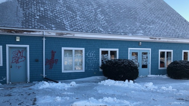 The RCMP believed Our Lady of Assumption Church in Stratford, P.E.I. was vandalized sometime during the overnight hours of Feb. 9. (RCMP)