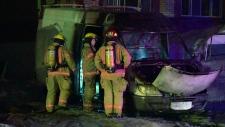 Firefighters examine van