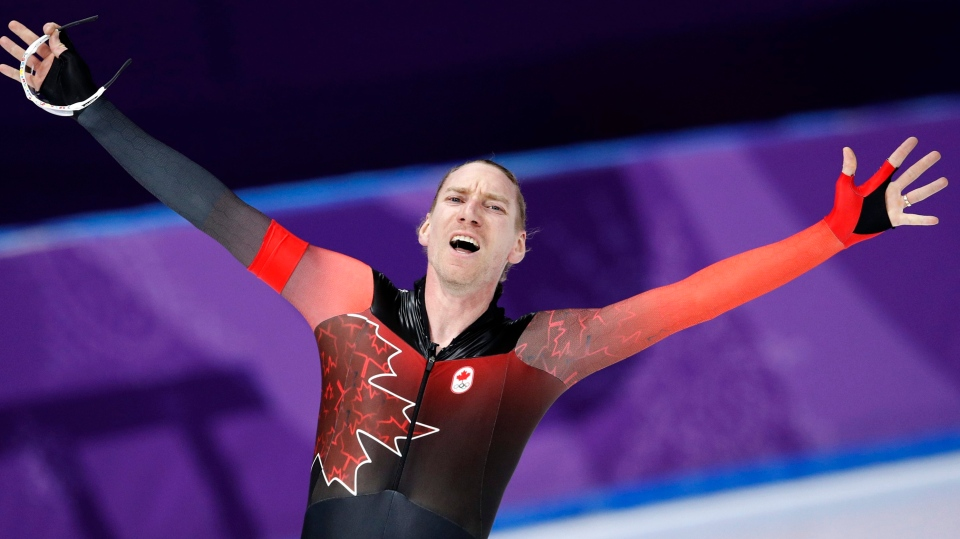 Ted-Jan Bloemen of Canada reacts after setting a new Olympic record  at the Gangneung Oval at the 2018 Winter Olympics in Gangneung, South Korea, Thursday, Feb. 15, 2018. (AP Photo/Vadim Ghirda)