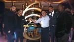 Drake, (L) and chef Antonio Park (center, in white) at Pick 6IX. (Courtesy of Pick 6IX restaurant)